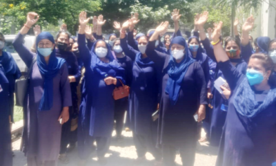 Asha workers protest, demand for release of salary
