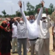 People of Samba protest against the construction of Delhi-Katra Express Highway