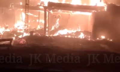 Four houses, cowsheds burnt in fire incident