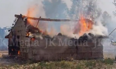 Four residential huts burnt to ashes due to fire