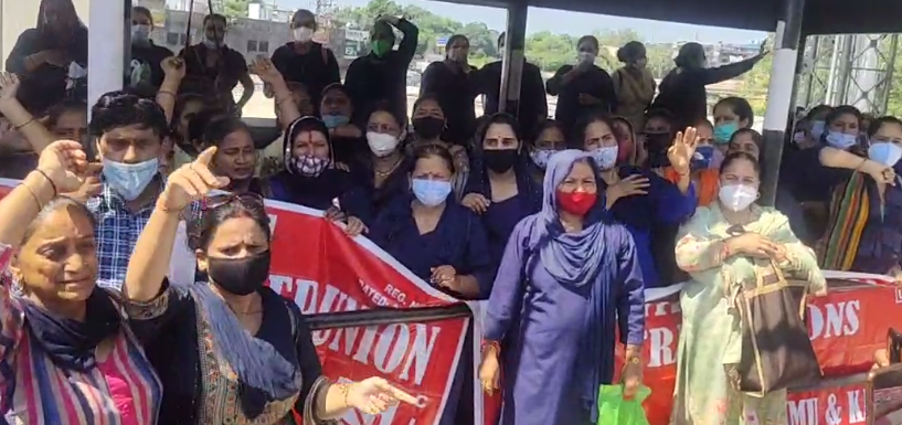 Asha workers protest in Jammu over the implementation of the Minimum Wage Act